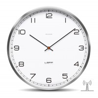Wall Clock One 35 Radio Controlled Stainless Steel White Arabic by LEFF Amsterdam