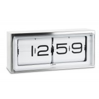 Brick Stainless Steel Flip Clock 24 Hour White