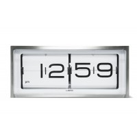 Brick Stainless Steel Flip Clock 12 Hour White