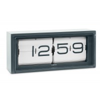 LEFF Brick Grey Flip Clock 24 Hour White