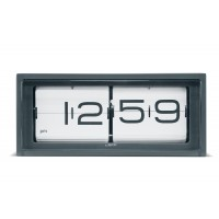Brick Grey Flip Clock 12 Hour White