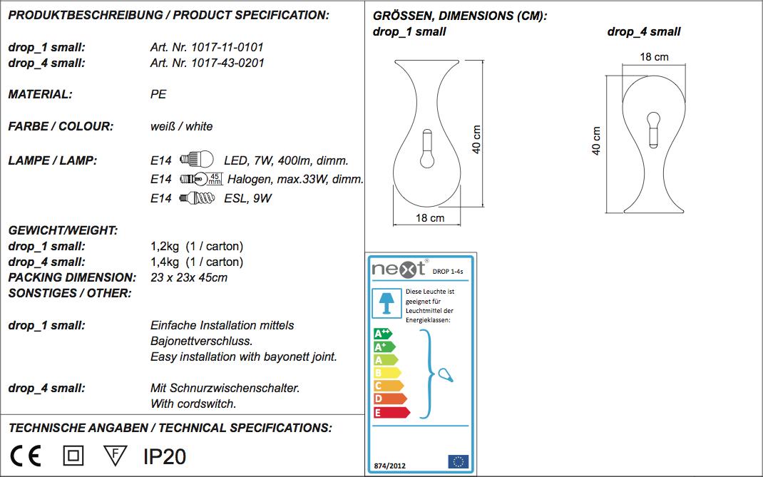 Drop 1 Small Dimensions Technical Spec